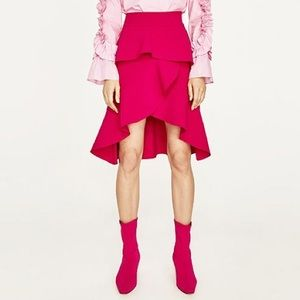 Zara ruffle high-low skirt in pink.